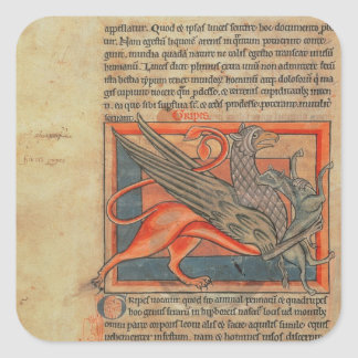 Page of text with an illustration of a griffin square sticker