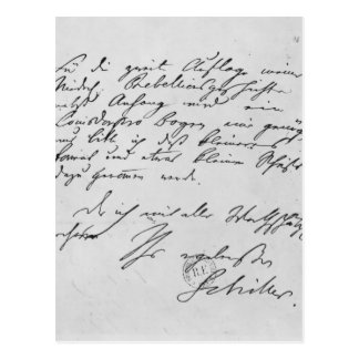 Page of text with his signature postcard