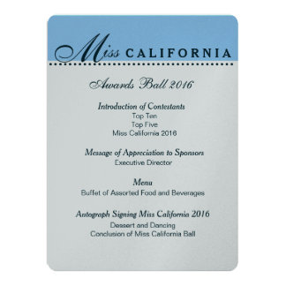 Pageant Awards Ball Program in Metallic Silver Card