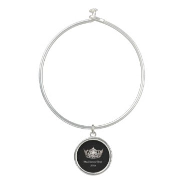 Hawaiian Themed Pageant Crown Bangle Bracelet with Charm