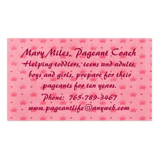 Pageant Crown Tiaras Business Card