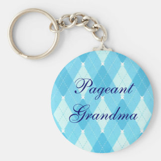 Pageant  Mom or Grandma Light Blue Argyle Keychain