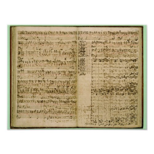 Pages from Score of the The Art of the Fugue Poster