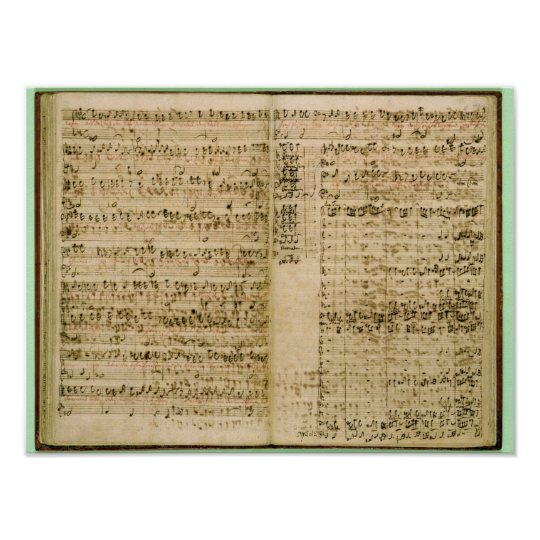 Pages from Score of the 'The Art of the Fugue' Poster