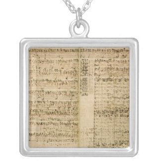 Pages from Score of the 'The Art of the Fugue' Silver Plated Necklace