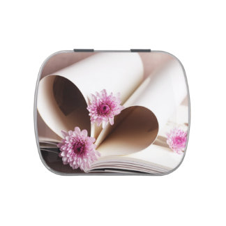 Pages of a Book Made into a Heart Shape Candy Tin