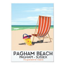 Pagham Beach Sussex vintage travel poster Invitation