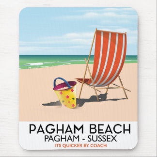 Pagham Beach Sussex vintage travel poster Mouse Pad