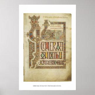 página 27r del evangelio del lindisfarne póster