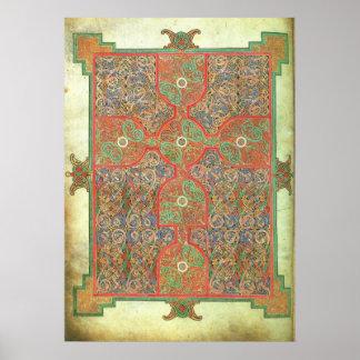 Página A.D. 698 de la alfombra de los evangelios Póster