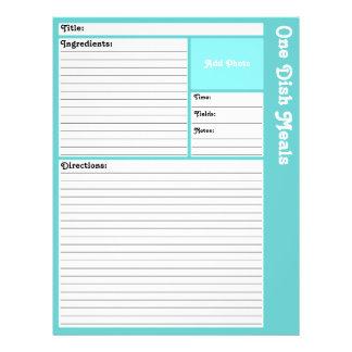 Página alineada de la receta (aguamarina ligera) tarjeta publicitaria