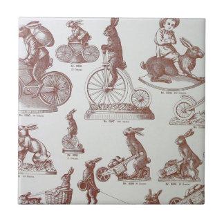Página antigua de los conejitos de pascua del catá azulejos ceramicos
