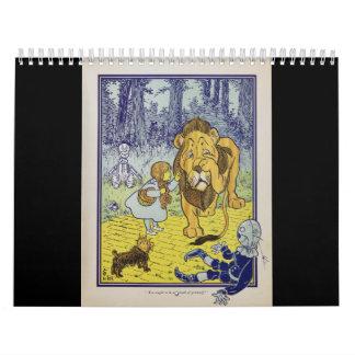 Página cobarde del libro de mago de Oz del león Calendarios De Pared
