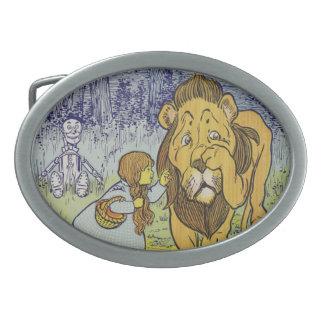 Página cobarde del libro de mago de Oz del león Hebilla De Cinturón Oval