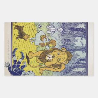 Página cobarde del libro de mago de Oz del león Pegatina Rectangular