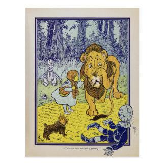 Página cobarde del libro de mago de Oz del león Postal