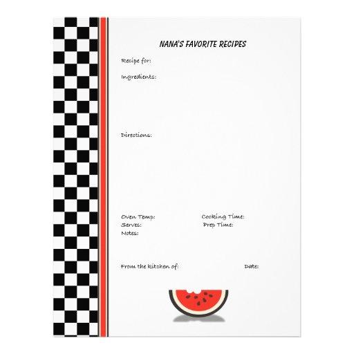 Página de encargo a cuadros de la receta de la san membrete a diseño