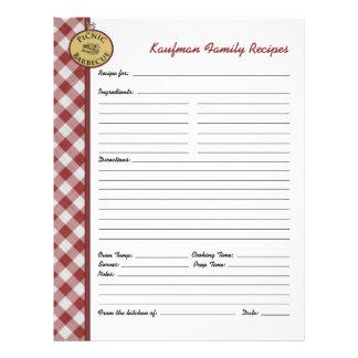 Página de encargo a cuadros roja de la receta de plantilla de membrete