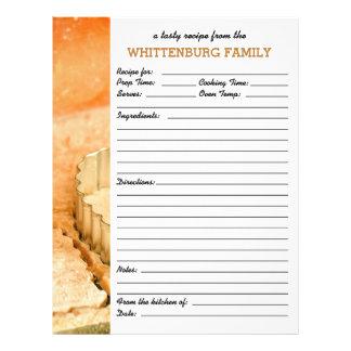 Página de encargo de la receta de la familia de plantilla de membrete