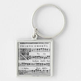 Página de la abertura de la masa para el coro dobl llavero cuadrado plateado