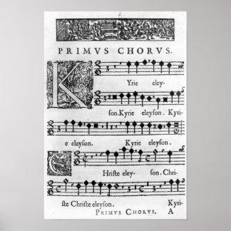 Página de la abertura de la masa para el coro dobl póster
