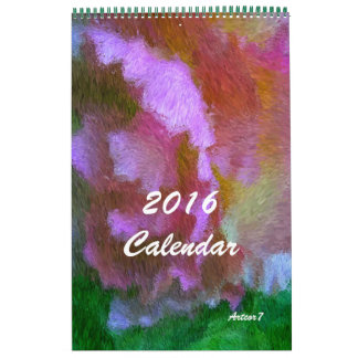 Página de la azalea del rosa del arte de 2016 calendarios de pared