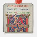 Página de la biblia de Winchester, c.1150-80 Adorno Navideño Cuadrado De Metal