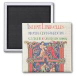 Página de la biblia de Winchester, c.1150-80 Imán Cuadrado