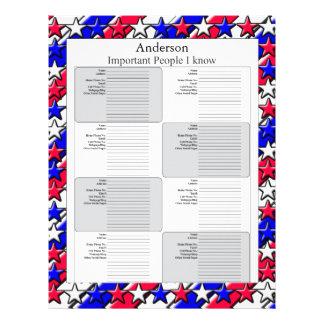 Página de la dirección - roja, blanca, y azul membretes personalizados