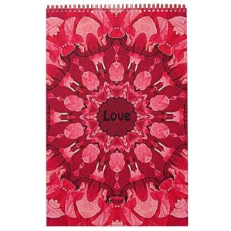 Página de la mandala roja del amor de 2016 calendarios de pared