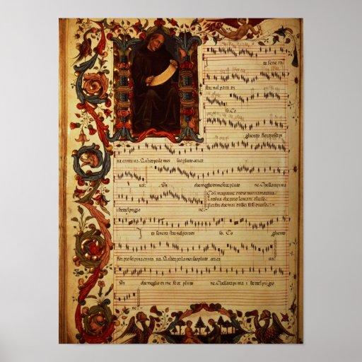 Página de la notación musical con historiated posters