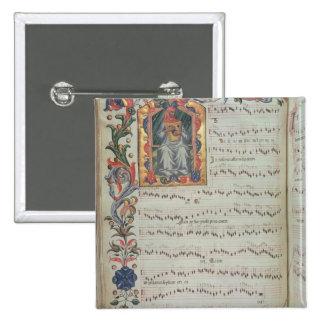 Página de la notación musical con historiated pin cuadrado