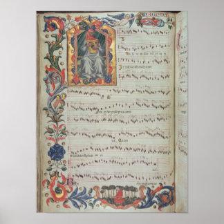 Página de la notación musical con historiated póster