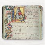 Página de la notación musical con historiated tapete de ratón