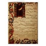 Página de la notación musical con historiated felicitaciones