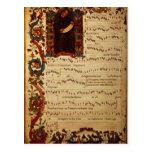 Página de la notación musical con historiated postal