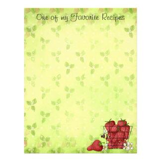Página de la receta de la fresa membretes personalizados