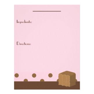 Página de la receta de la mordedura del rosa y del plantillas de membrete
