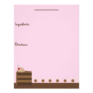Página de la receta de la torta de chocolate membrete personalizado
