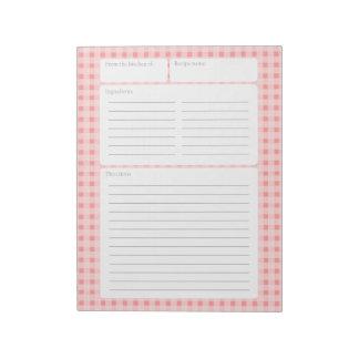 Página de la receta del inspector de la guinga con blocs de notas