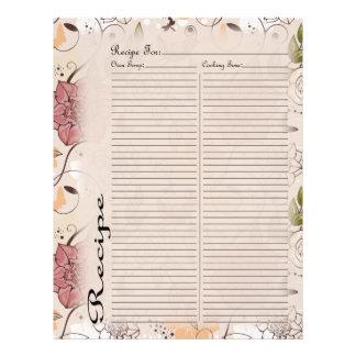 Página de la receta para la carpeta color de rosa  membrete personalizado