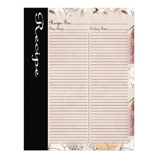 Página de la receta para la carpeta color de rosa  membrete