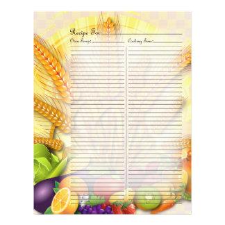 Página de la receta para las frutas y la carpeta d membretes personalizados
