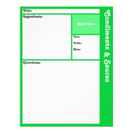 Página de la receta (verde clara) tarjetones