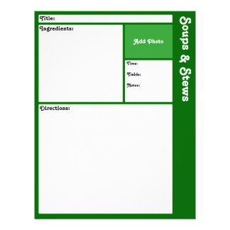 """Página de la receta (verde oscuro) folleto 8.5"""" x 11"""""""