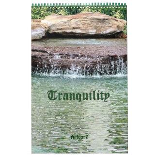 Página de la tranquilidad de la cascada de 2016 calendarios