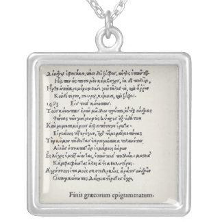 Página de las epigramas griegas de Ángel Colgante Cuadrado