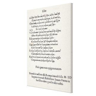 Página de las epigramas griegas de Ángel Impresión En Lienzo Estirada