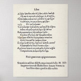 Página de las epigramas griegas de Ángel Poliziano Póster