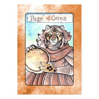 Página de monedas tarjetas de visita grandes